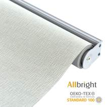 ALLBRIGHT Thermal Insulated Fabric 100% Blackout UV Protection Rialto Emboss Cordless Roller Shades for Windows, Easy to Install, White, 23''W x 72''H
