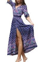 R.Vivimos Women's Summer Spaghetti Straps V Neck Floral Print Button Down Boho Midi Dress