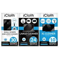 iCloth Lens and Screen Cleaner Pro-Grade Individually Wrapped Wet Wipes, Wipes Will Clean Smartphones, Tablets, Laptops, and HDTVs -Combo Pack of 64