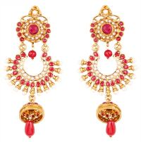 Touchstone Indian Bollywood wide magical jhumki wedding jewelry earrings in antique gold tone for women