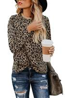 Walant Womens Leopard Print Tops Long Sleeve Round Neck Casual T Shirts