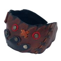 NOVICA Brass Unique Leather Cuff Bracelet 'Tic Tac Toe'