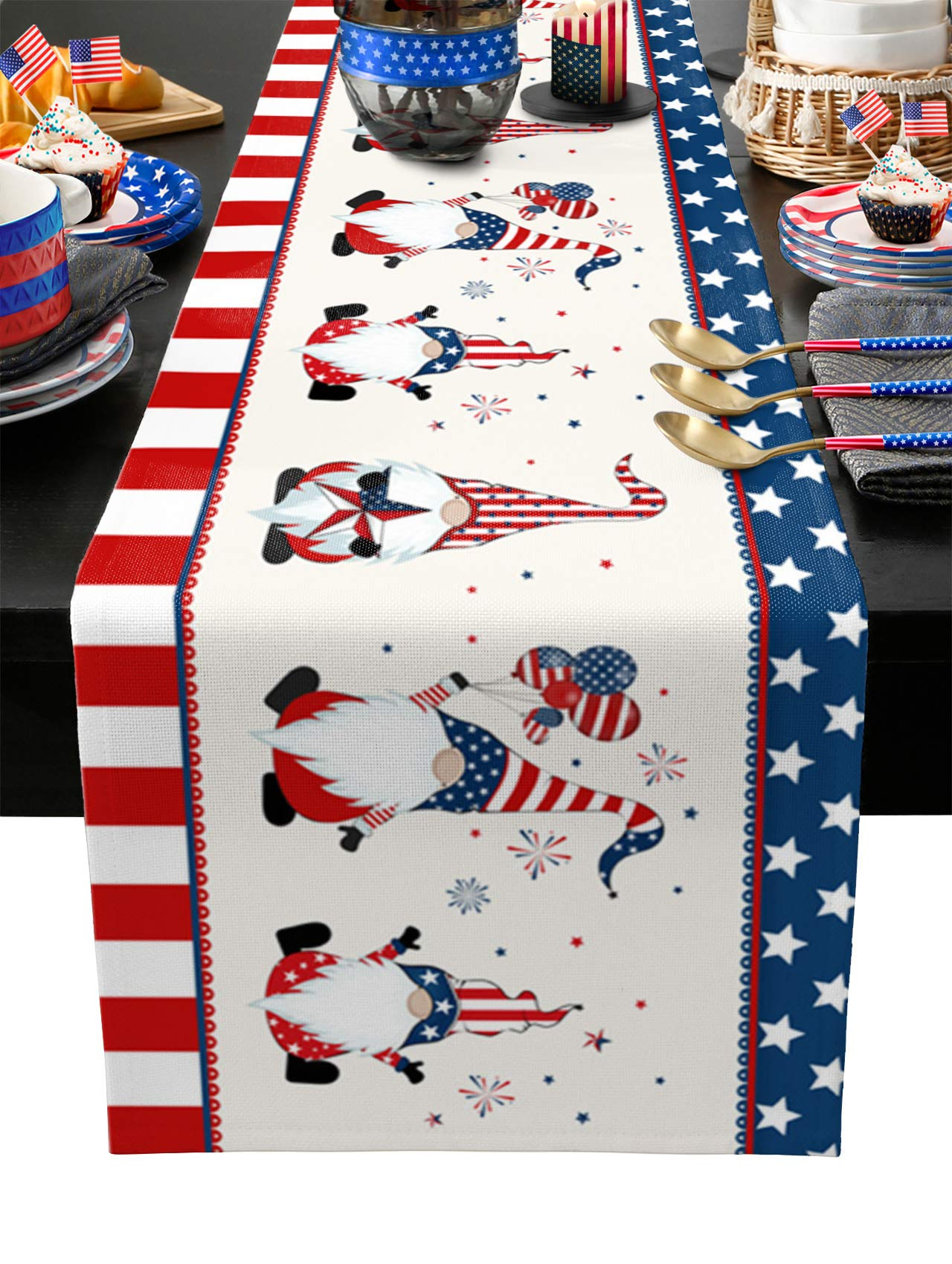Independence Day Burlap Table Runner 108 Inches Long,Independence Day Welcome Gnomes Balloons Pentagram Stripes Border Linen Dinner Table Setting Decor for Wedding Gatherings Party Baby Shower