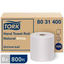Tork Universal Hand Towel Roll H80, Large Hard Roll Paper Towel 8031400, 100% Recycled, Basic Quality, 1-Ply, Natural/White - 6 Rolls x 800 ft