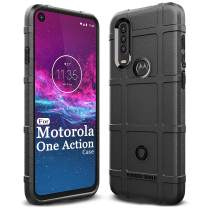 Sucnakp Moto One Action Case,Moto P40 Power Case Heavy Duty Shock Absorption Phone Cases Impact Resistant Protective Cover for Motorola Moto One Action/Moto P40 Power(New Black)