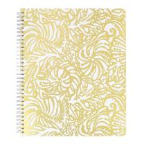 """Lilly Pulitzer Gold Large Hardcover Spiral Notebook, 11"""" x 9.5"""" with 160 College Ruled Pages, Beach Haven"""