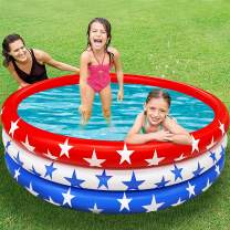 TURNMEON Inflatable Kiddie Pool, American Flag Baby Pool Portable Swimming Pool for Kids Toddlers Infant Indoor Outdoor Blow Up Pool Toys Summer Beach Water Games Play Center for Toddlers