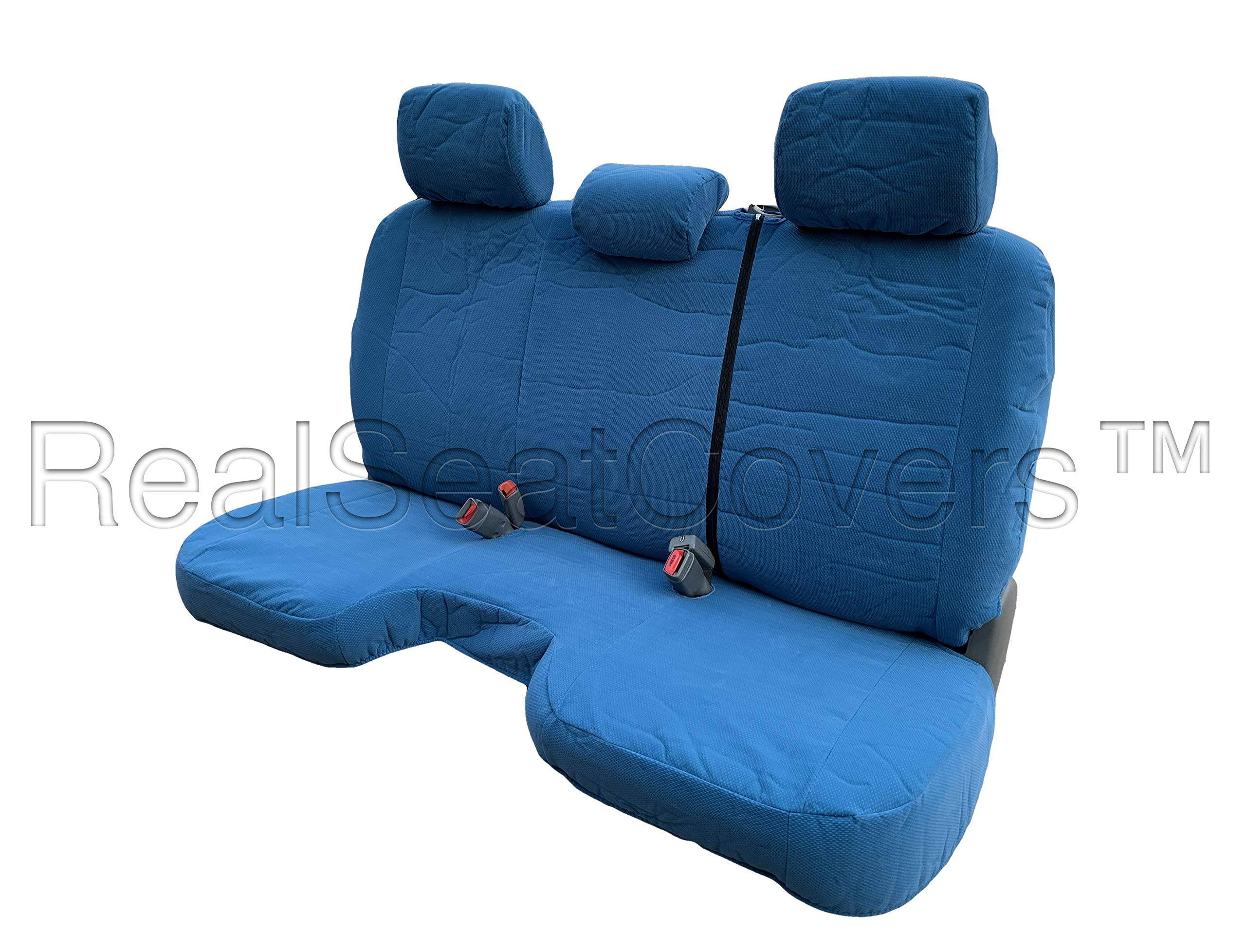 RealSeatCovers for Toyota Tacom Regular Cab Solid Bench with 3 Adjustable Headrest A30 Custom Made for Exact Fit Seat Cover for Toyota Tacoma 2005-2008 (Blue)