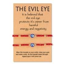 Tarsus Dainty Evil Eye Beaded Bracelets Adjustable String Amulet for Women Men Little Boys & Girls