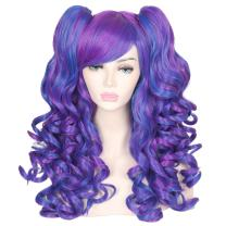 ColorGround Long Curly Cosplay Wig with 2 Ponytails(Dark Blue/Dark Purple)