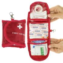 Vive Mini First Aid Kit (65 Piece) - Bandage and Survival EDC for Vehicle, Home, Camping, Earthquake, Auto Car - Emergency Trauma Safety Bag - Gauze, Tape, Scissors - Medical Supplies Pouch for Travel