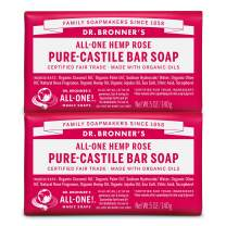 Dr. Bronner's - Pure-Castile Bar Soap (Rose, 5 ounce, 2-Pack) - Made with Organic Oils, For Face, Body and Hair, Gentle and Moisturizing, Biodegradable, Vegan, Cruelty-free, Non-GMO