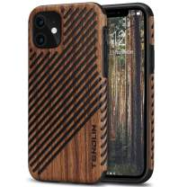 TENDLIN Compatible with iPhone 11 Case Wood Grain Outside Design TPU Hybrid Case (Wood & Leather)