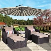 B BAIJIAWEI 5-Piece Wicker Patio Furniture Set Outdoor PE Rattan Lounge Chair and Ottoman Sofa Set with Cushions & Glass Table for Garden, Balcony, Beach, Coffee Bar, Deck