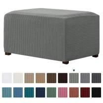 CHUN YI Stretch Ottoman Slipcover Rectangle Storage Stool Cover Furniture Protector with Elastic Bottom, Checks Spandex Jacquard Fabric (X-Large, Dove Gray)