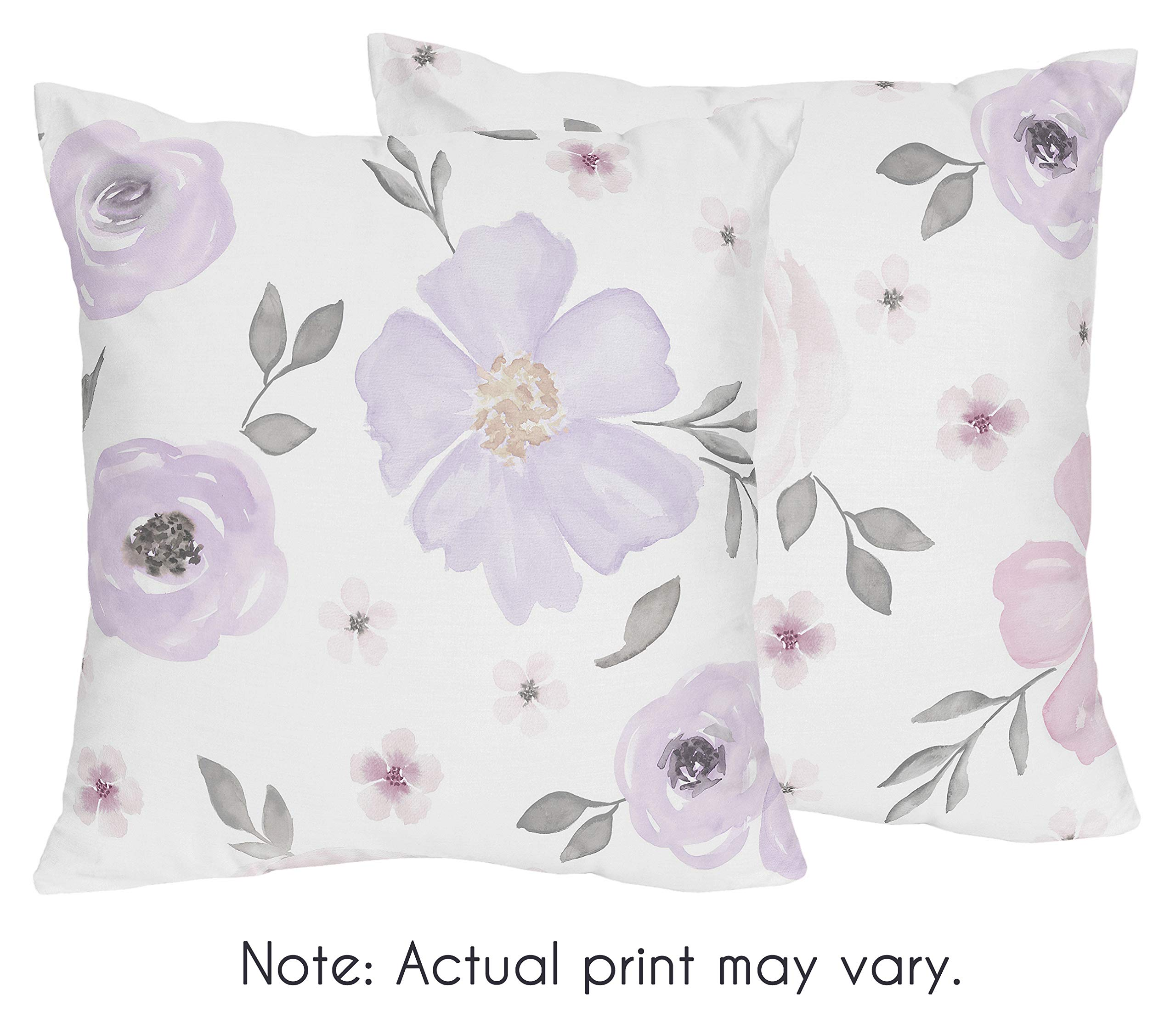 Sweet Jojo Designs Lavender Purple, Pink, Grey and White Decorative Accent Throw Pillows for Watercolor Floral Collection - Set of 2 Rose Flower