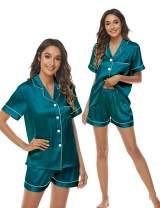 Eilshoji Satin Pajama Set for Women Short Silk Sleepwear 2PCS Pj Sets