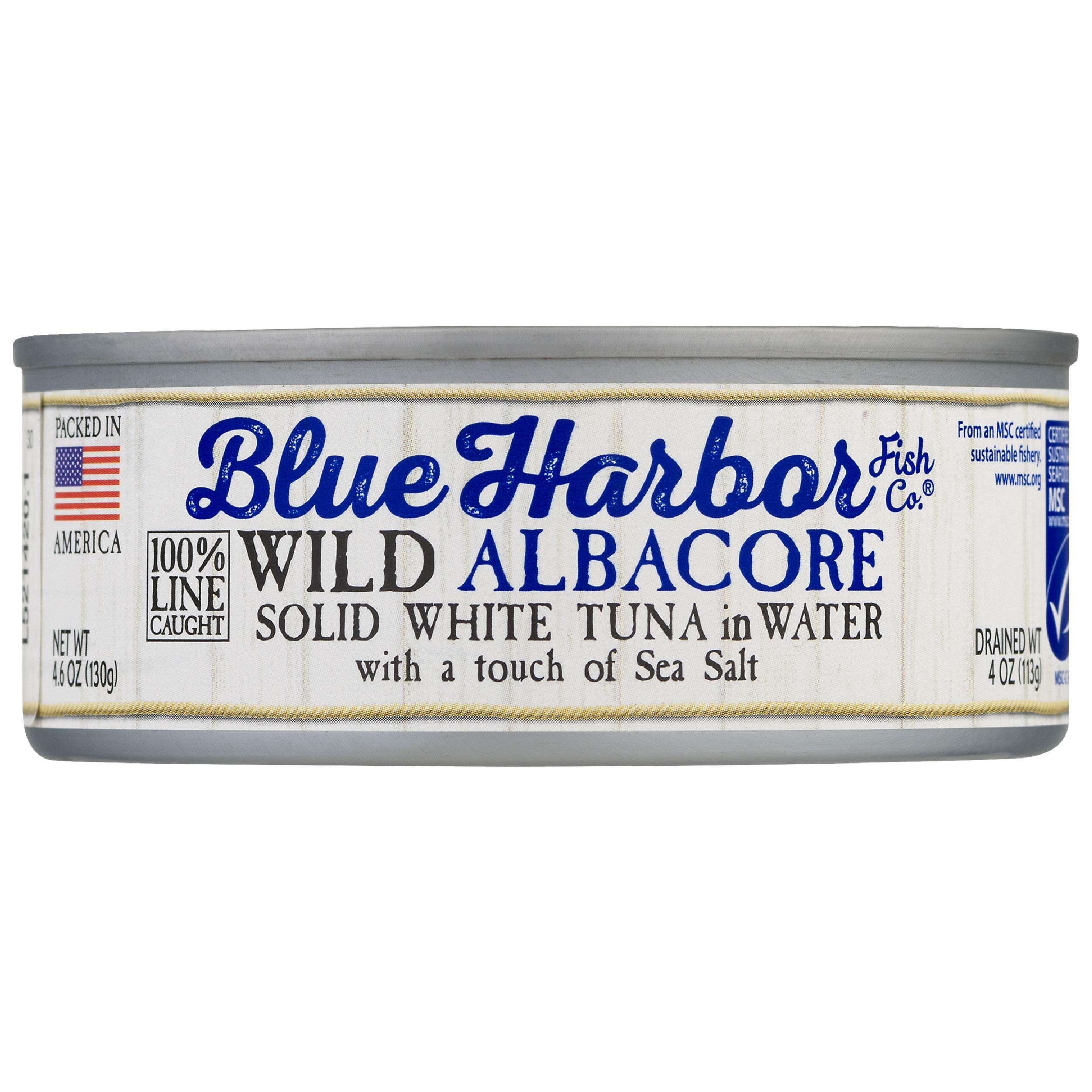 Blue Harbor Fish Co. Wild Albacore Solid White Tuna in Water with Sea Salt - 4.6 oz Can (Pack of 12)