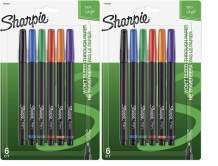Sharpie 1976527 Pen, Fine Point, Assorted Colors, 6-Count - 2 Pack