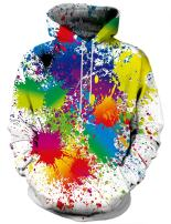 Linnhoy Unisex 3D Printed Hooded Sweatshirt Casual Pullover Hoodie with Big Pockets