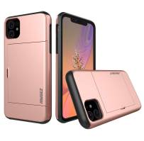 MUSEZ iPhone 11 Case, Hybrid iPhone 11 Wallet Case Card Holder Shell Heavy Duty Protection Shockproof Anti Scratch Soft Rubber Bumper Cover Case for iPhone 11 6.1 inch (Rose Gold)