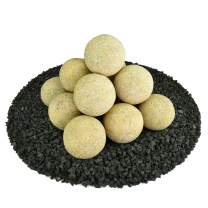 Ceramic Fire Balls | Set of 14 | Modern Accessory for Indoor and Outdoor Fire Pits or Fireplaces – Brushed Concrete Look | Dandelion Yellow, Speckled, 4 Inch