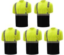 Ironwear 1805-L-2-MD Polyester Crew Neck SAFETY Shirt with Pocket, Lime, Medium