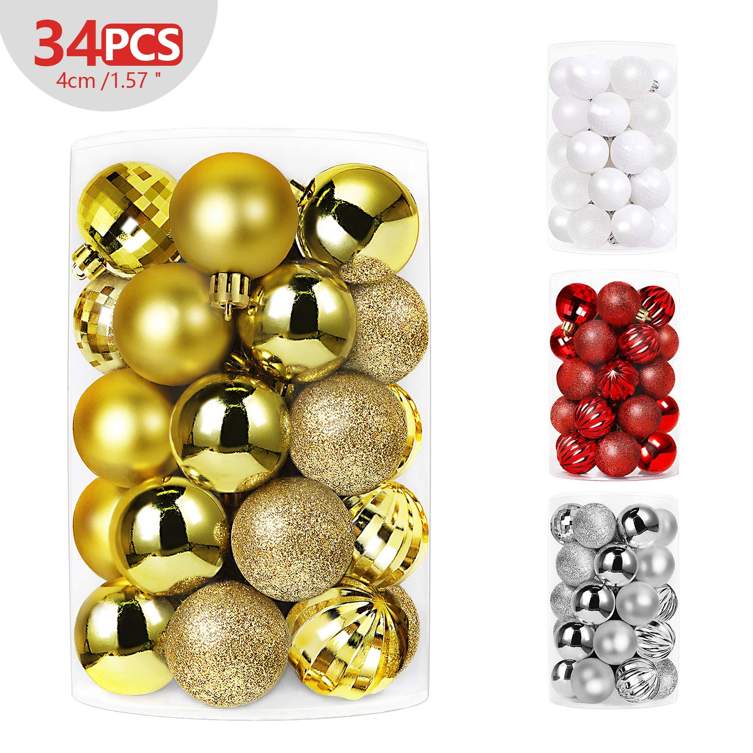"""SHareconn 34ct 1.57"""" Christmas Balls Ornaments Shatterproof Christmas Tree Decoration Ball for Family Holiday Party,Tree Ornaments Hooks Included (40mm Gold)"""