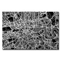 London Street Map I by Michael Tompsett, 16x24-Inch Canvas Wall Art