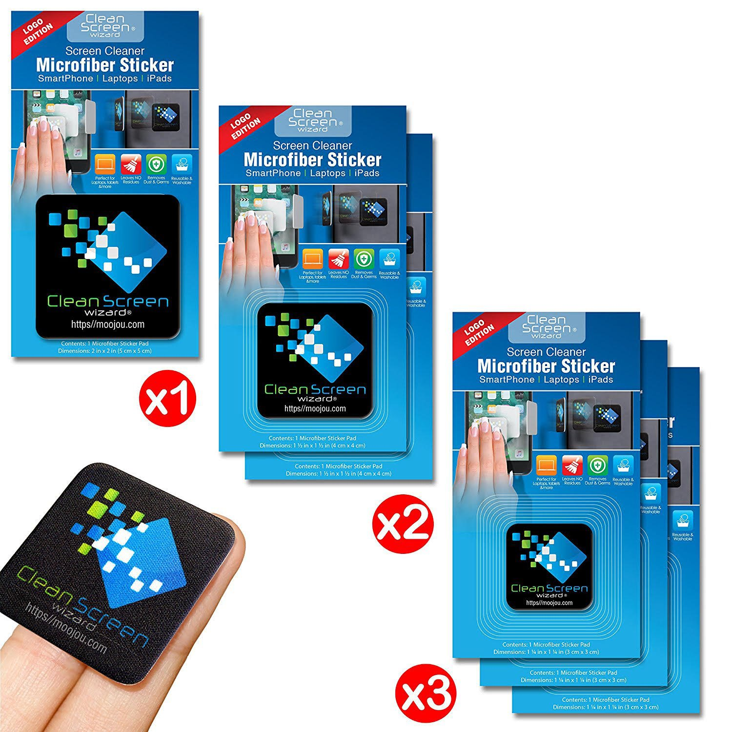 CLEAN SCREEN WIZARD Microfiber Screen Cleaner Sticker, Handy Screen Cleaning Kit, 6 Pack Bundle Cleaning Stickers, 1 Large, 2 Medium, 3 Small in Black for Multi Size Screens