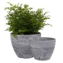 LA JOLIE MUSE Flower Pots Outdoor Indoor Garden Planters, Plant Containers with Drain Hole, Gray, Marble Pattern (8.6 + 7.5 Inch)