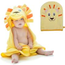 Little Tinkers World Hooded Baby Towel and Washcloth, Lion Design, Ultra Absorbent, Durable Bath Towel Perfect for Girls and Boys