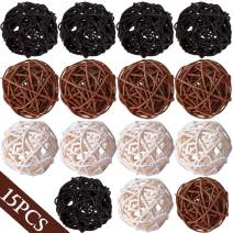 """Wicker Rattan Balls Decorative Orbs Vase Fillers for Craft Project, 15pcs 2""""Wedding Table Decoration,Themed Party,Baby Shower, Aromatherapy Accessories,Orbs Vase Fillers (15, white-black-brown)"""
