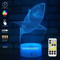 MH Zone 3D Night Light Dolphin for Kids Night Lights Bedside Lamp 7 Colors with Timer & Remote Control & Smart Touch, The for Kids Girls Boys (Shark)