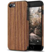 Tasikar Compatible with iPhone SE 2020 Case/iPhone 7 Case/iPhone 8 Case Easy Grip with Wood Grain Design Slim Hybrid Case (Redwood)