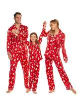 Ekouaer Christmas Family Matching Pajamas Long Sleeve Pj Set Micro Fleece Lined Festival Party Sleepwear with Button