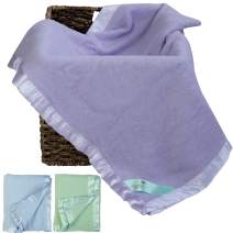 Bamboo Purple Toddler Blanket for Girls- Snuggle with Your Newborn Baby - Natural Hypoallergenic Throw Blanket with Satin Edging - Perfect Travel Blanket Registry! 34 x 47 inches