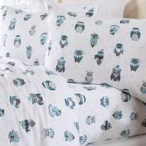 Home Fashion Designs Stratton Collection Extra Soft Printed 100% Turkish Cotton Flannel Sheet Set. Warm, Cozy, Lightweight, Luxury Winter Bed Sheets. (King, Winter Owls)