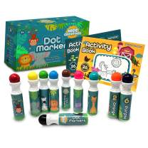 Washable Dot Markers for Kids with 2 Educational Activity Books | 10 Color Set (Original)