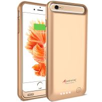 Alpatronix iPhone 6S/6 Battery Case, MFi Certified Slim Protective Extended Charging Case with Built-in Polymer Battery Compatible with iPhone 6S & iPhone 6 (4.7 inch) BX140 - Gold