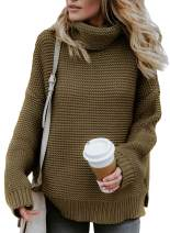 Aleumdr Womens Long Sleeve Turtleneck Chunky Knit Pullover Sweater Tops