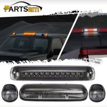 Partsam Smoked High Mount Stop Light 3rd Third Brake Light Cargo Tail Lamp Chrome Housing +3PCS Clear Amber 30 LED Cab Roof Top Marker Lights Replacement for Chevy Silverado and GMC Sierra 02-07