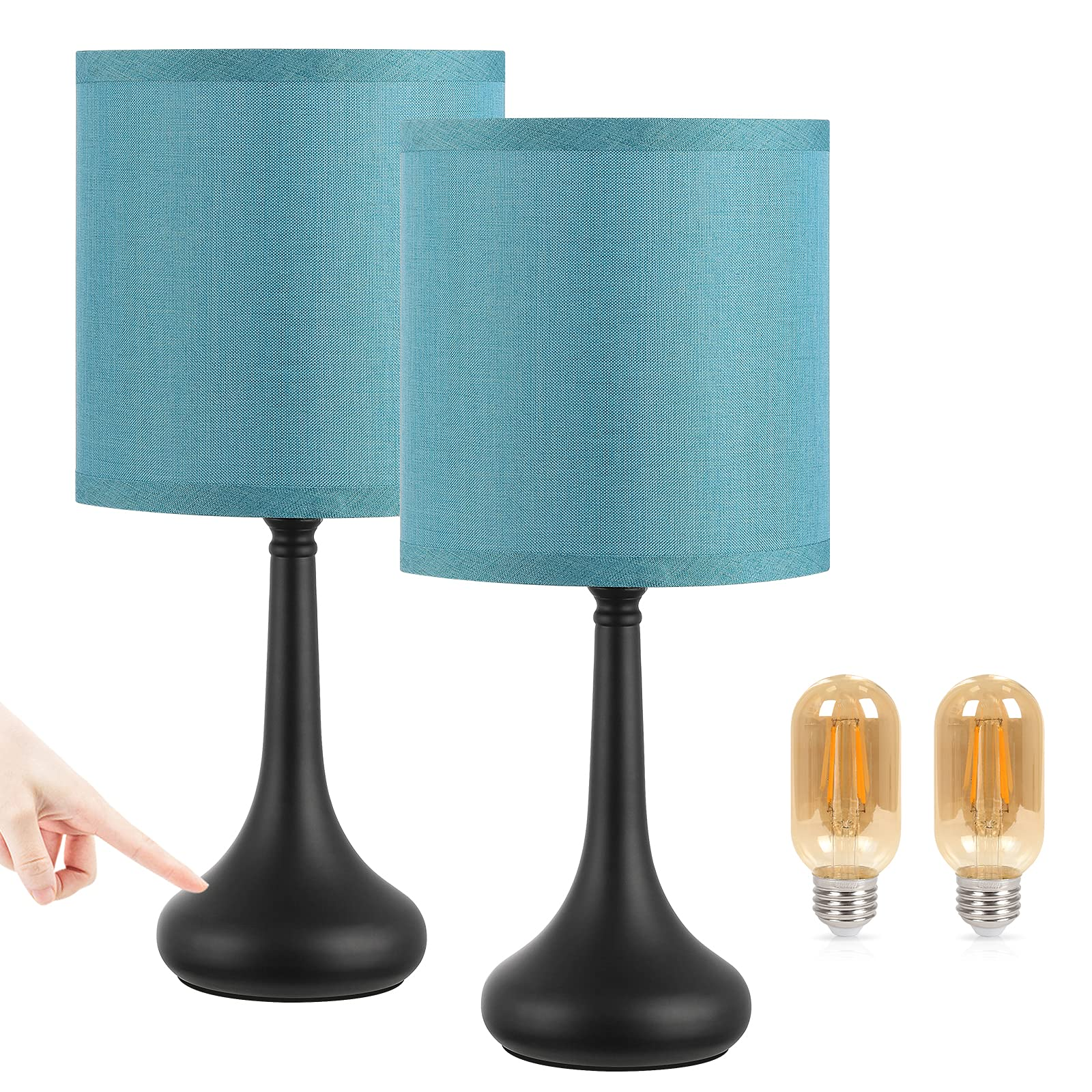Small Touch Bedside Lamp Nightstand Lamp for Bedroom Set of 2, Kakanuo Blue Touch Lamp Table Lamp, 3 Way Dimmable Desk Lamp with Lampshade for Bedroom, Living Room and Office (LED Bulbs Included)
