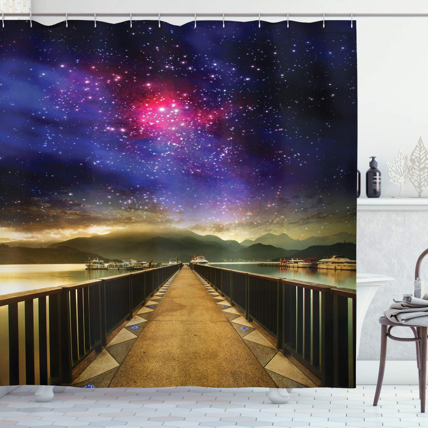"""Ambesonne Universe Shower Curtain, Galaxy Cosmos Wooden Bridge Panoramic View Celestial Space Print, Cloth Fabric Bathroom Decor Set with Hooks, 70"""" Long, Magenta Black"""