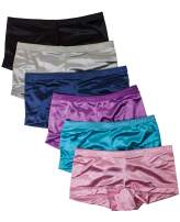 Barbra Satin Panties S to Plus Size Boyshorts Panties for Women Underwear 6 Pack