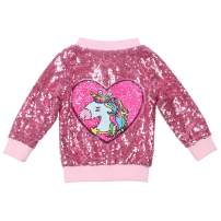 ANATA Girl Sequin Jacket Kids Casual Bomber Jacket Unicorn Zipper Coat Outwear
