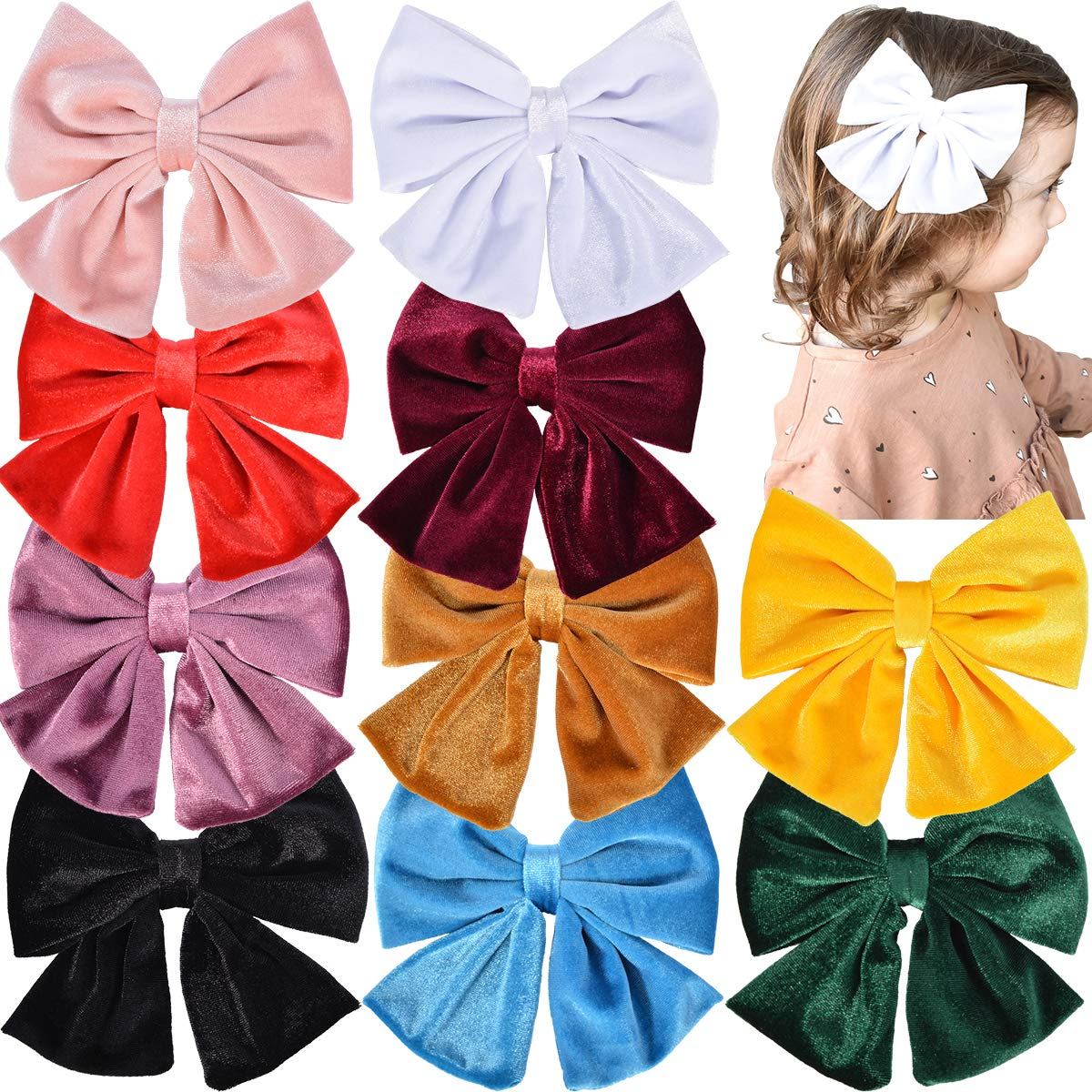 """Velvet Hair Bows Girls 6"""" 10PCS Big Boutique Alligator Clips Vintage Accessories for Baby Toddlers Teens Kids"""