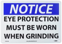 "NMC N271AB OSHA Sign, Legend ""NOTICE - EYE PROTECTION MUST BE WORN WHEN GRINDING"", 14"" Length x 10"" Height, Aluminum, Black/Blue on White"