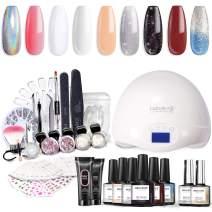 Modelones Gel Nail Polish Starter Kit with UV Light,48W UV/LED Nail Lamp,Soak off Poly Nail Gel,Glitter Powder Manicure Tools,6 Color NGel Polish 10ml