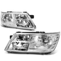 Replacement for Journey Pair of Chrome Housing Clear Corner Headlight Lamp